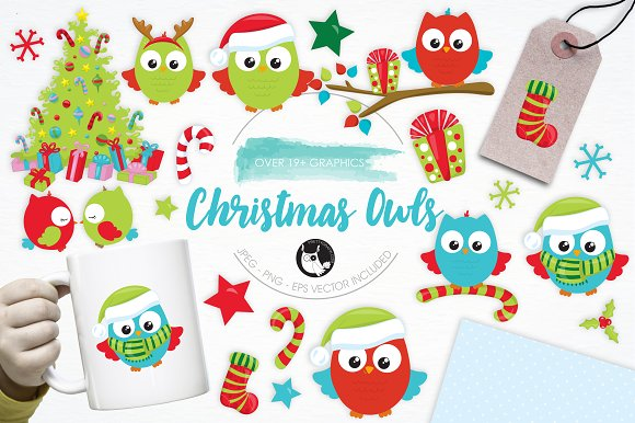 Christmas Owls Illustration Pack