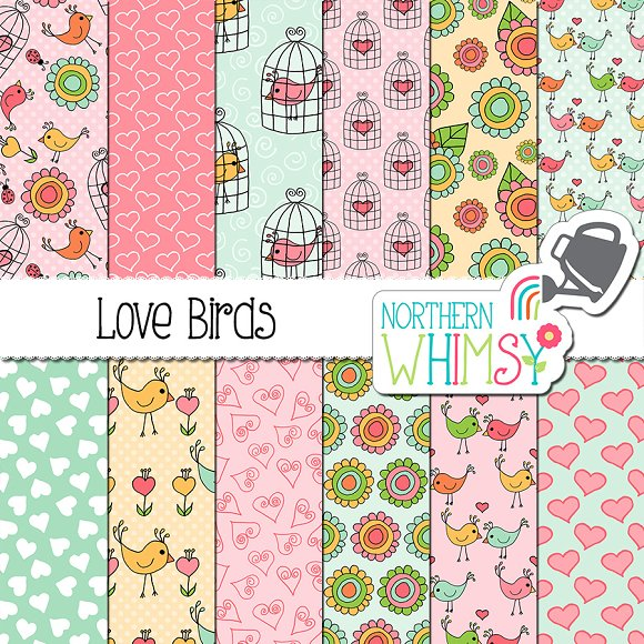 Valentine's Patterns Love Birds