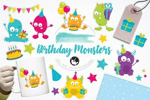 Birthday Monsters illustration pack