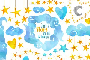 Stars and Clouds Clipart
