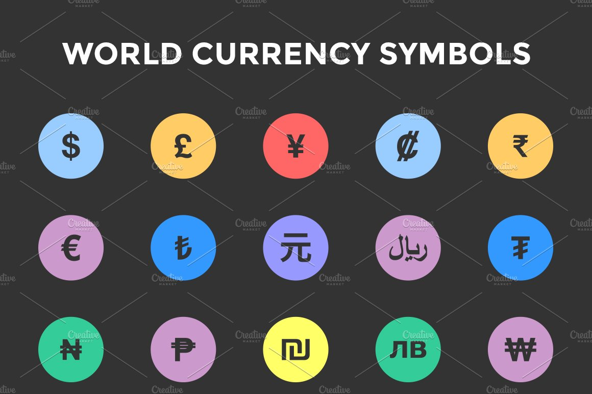 World currency symbols icons icons creative market biocorpaavc Images