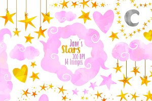 Pink Clouds and Stars Clipart