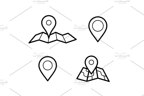 Maps And Pins Icons