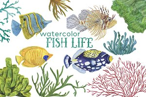 Fish life - watercolor clipart