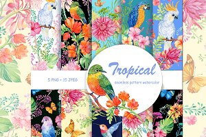 tropical patterns watercolor