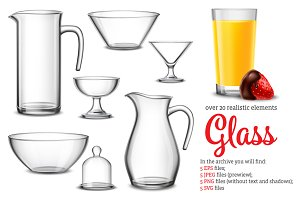 Glass Realistic Set