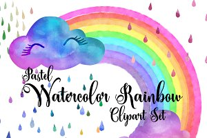 Pastel Watercolor Rainbows Clipart