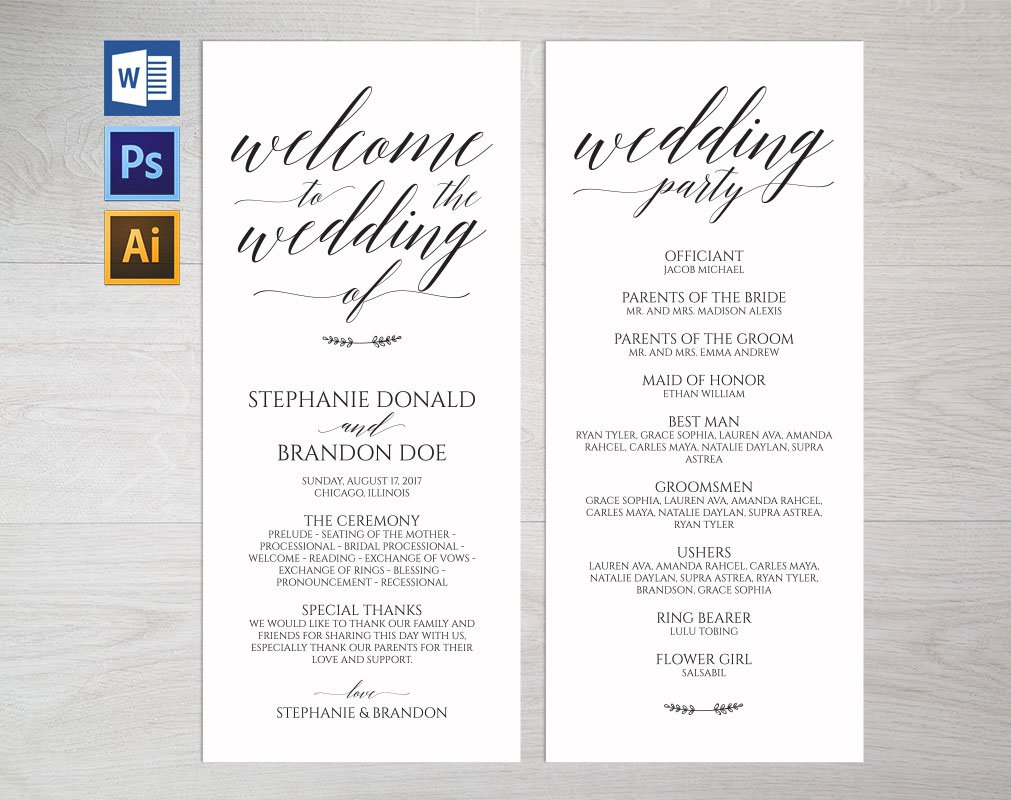 Wedding program template wpc6 invitation templates creative market rustic wedding program template wpc1 pronofoot35fo Images
