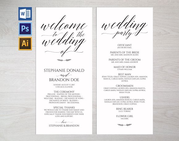 rustic wedding program template wpc1 invitation templates