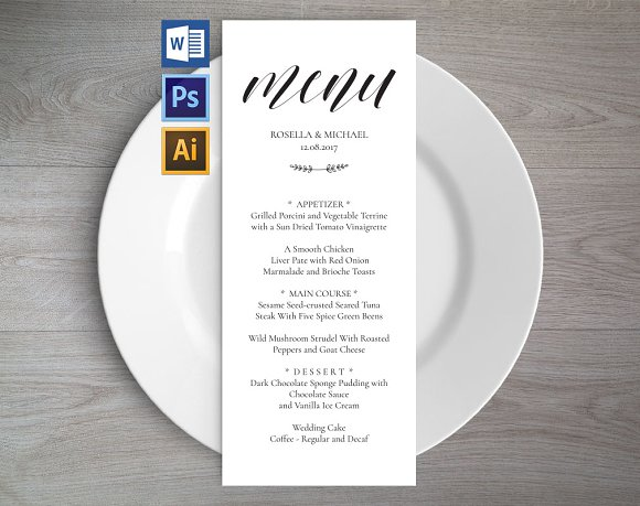wedding menu template wpc2 invitation templates creative market