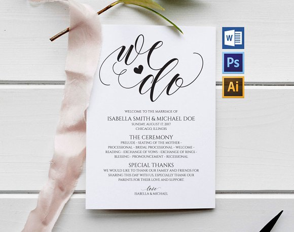 wedding program template wpc6 invitation templates creative market
