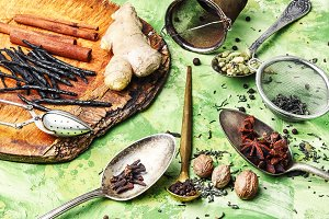 Ingredients for masala tea