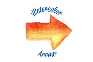 Orange vector watercolor arrow