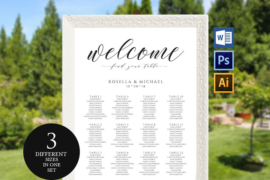 Wedding Seating Chart Sign Template Stationery Templates