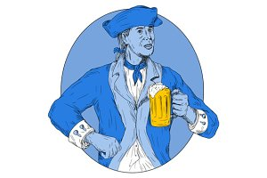 American Patriot Holding Beer Mug