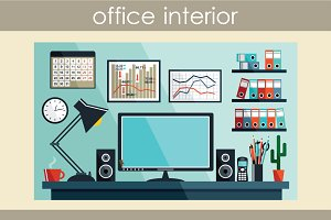 Business workplace with office thing