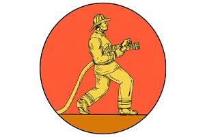 Fireman Firefighter Holding Hose
