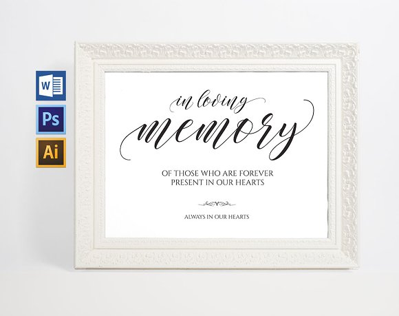 In loving memory sign wpc38 invitation templates creative market for In loving memory templates