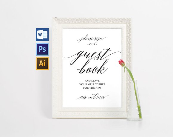 Guest Book Cover Printable : Guest book sign wpc invitation templates creative market