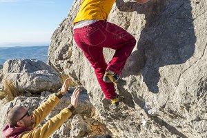 Rock climbing boulder