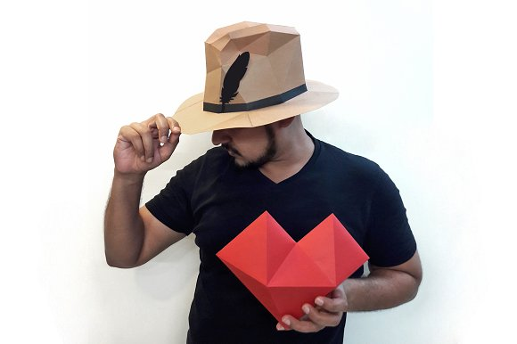 diy paper hat heart 3d papercraft templates creative market