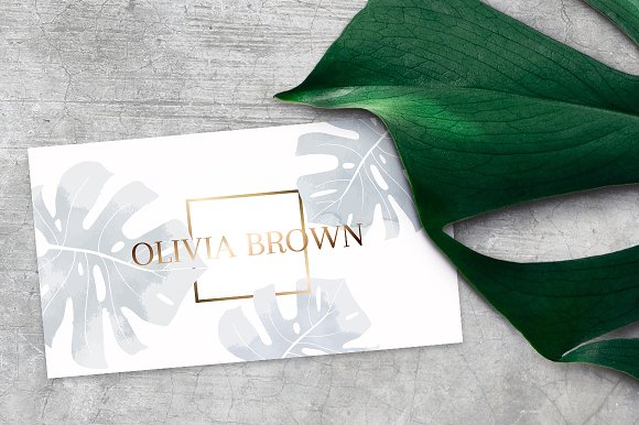 feminine business card with monstera business card templates creative market