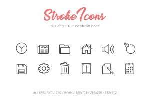 50 General Outline Stroke Icons