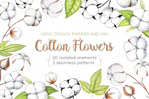 Cotton Flowers Handdrawn Set