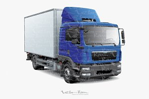 Box Truck with Blue Cabine