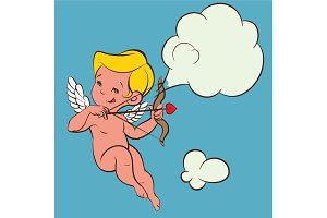 Cupid Love silhouette with bow and arrow and speech bubble