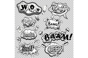 Black and white comic speech bubbles