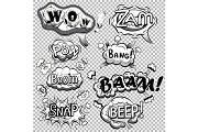 Black and white comic speech bubbles