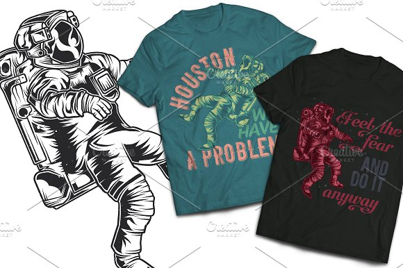 Astronaut T-shirt And Poster Labels