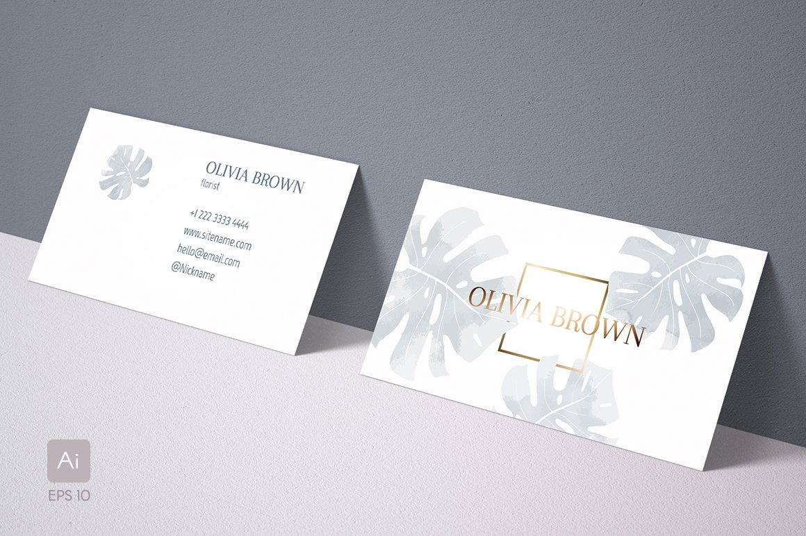 Feminine business card with Monstera ~ Business Card Templates ...