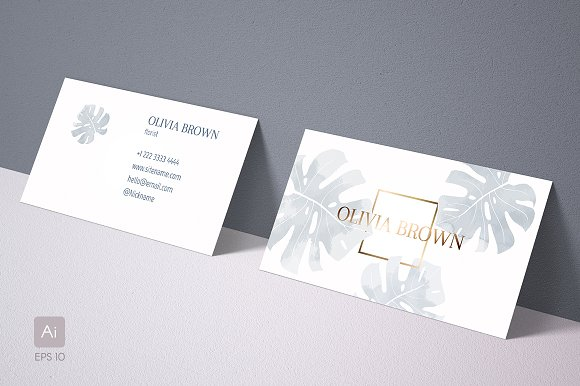 Feminine Business Card With Monstera Cards