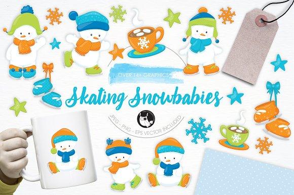 Skating Snowbabies illustration pack