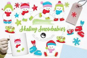 Skating Snowbabies illustration pack