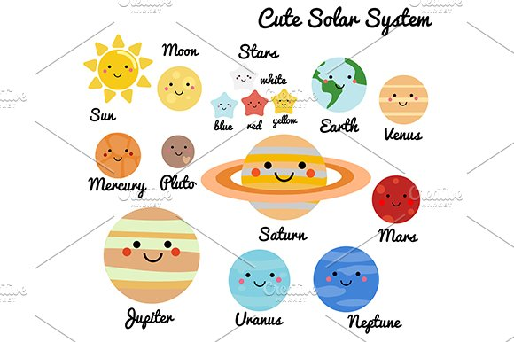 Cute solar system. Space elements ~ Illustrations ...
