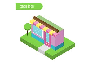 Shop, cafe isometric icon