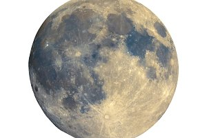 Full moon seen with telescope, enhanced colours, isolated