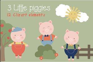 3 Little piggies clipart