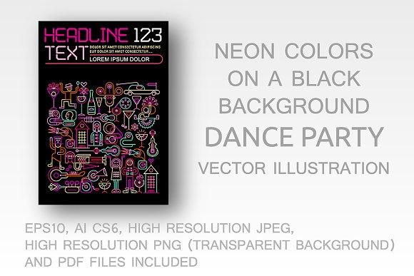 Dance Party Neon Colors Flyer Design