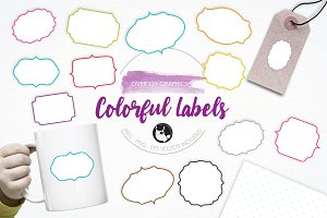 Colorful Labels illustration pack
