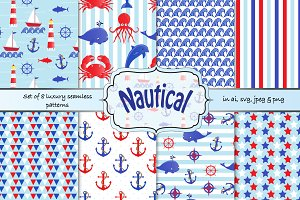 Nautical seamless vector patterns