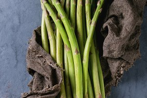 Bundle of young green asparagus