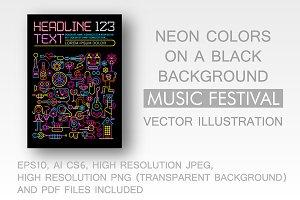 Music Festival neon colors