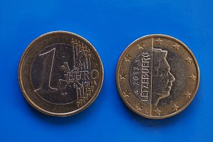 1 euro coin, European Union, Luxembourg over blue