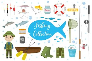 Fishing icon set, flat, cartoon style. Fishery collection objects, design elements, isolated on white background. Fisherman s tools with a fishing rod, tackle, bait, boat. Vector ilustration, clipart