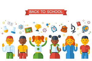 Back To School Education Concept with Schoolers