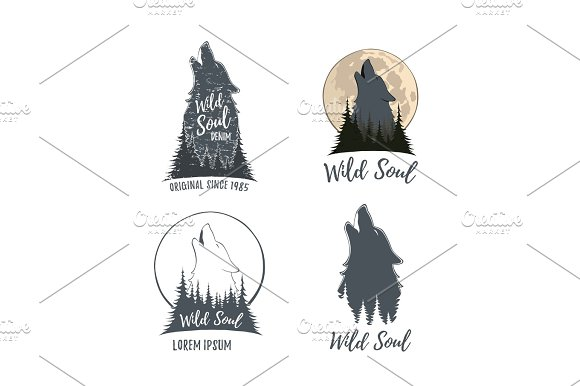 Set Of Four Wolf Howling On The Moon In The Forest